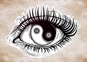 Beautiful eye with pupil as Yin and Yang symbol.