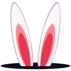 Colorful cartoon rabbit ears hole icon.