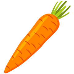 Colorful cartoon carrot icon.