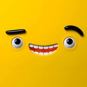 3d render, abstract emotional face icon, stupid funny playboy character, cute cartoon monster, illustration, emoji, emoticon, toy