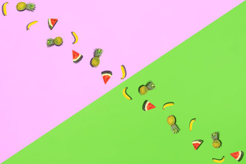 Pattern of fresh summer sweet fruit for holiday concept flat lay mockup and top view of minimal...