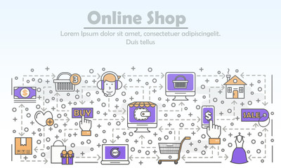 E-commerce business advertising vector flat line art illustration