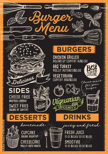 Burger restaurant menu. Vector food flyer for bar and cafe. Design ...