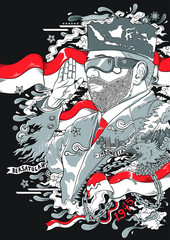 man with glasses and beard with indonesia flags on illustration doodle style