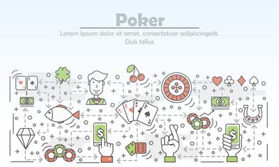 Poker advertising vector flat line art illustration