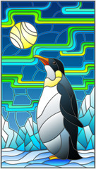 Illustration in stained glass style with a  penguin on a background of snow, moon and Northern lights
