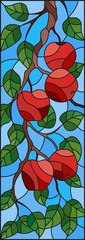 Illustration in the style of a stained glass window with the branches of Apple trees , the fruit branches and leaves against the sky,vertical orientation