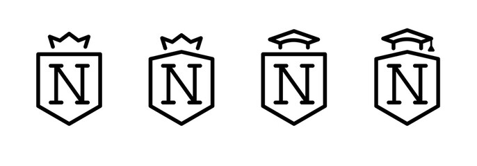 monogram letter N. crown and academic hat. set. education system