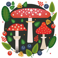 Vector flat style vector forest mushrooms and forest element. Forest berries and mushroom, strawberries, deep, blueberries, mountain ash, cranberries, leaf, dot.