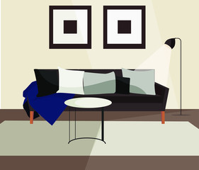 Living room sofa couch scandinavian minimalistic interior. Modern indoor home design with furniture vector illustration, objects pack