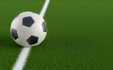 Soccer ball on the white line of a soccer field - 3D Rendering
