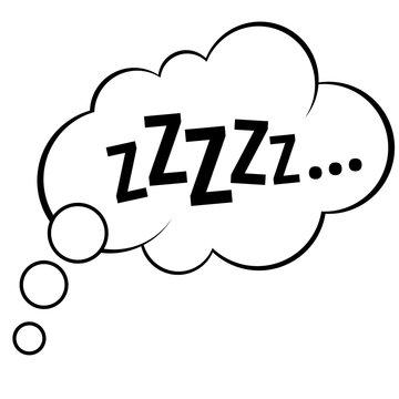 Sleep comic bubble zzz vector illustration