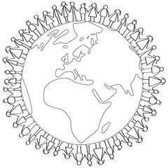 Vector illustration of stick figures children standing around earth globe holding hands coloring page isolated on white background