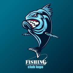 Angry piranha fishing logo. Vector illustration can be used for creating logo and emblem for fishing clubs, prints, web and other crafts.