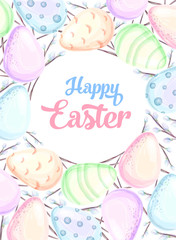 Happy easter, hand drawn watercolor illustration. poster with watercolor eggs and pussy willow branches. Vector illustration