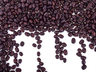 Coffee beans isolated in white background.