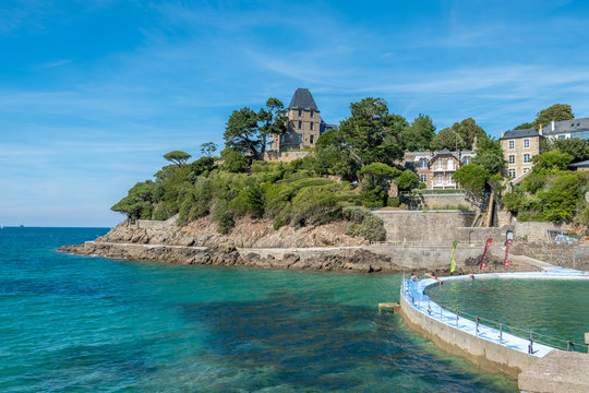 Beach in with artificial swiming pool Dinard, Brittany, France