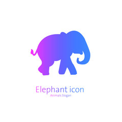 An elephant symbol with blue and pink gradient color, Graphic Design