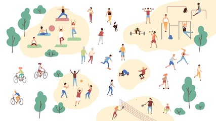 Group of people performing sports activities at park - doing yoga and gymnastics exercises, jogging, riding bicycles, playing ball game and tennis. Outdoor workout. Flat cartoon vector illustration. Wall mural