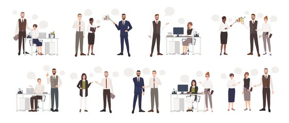 Set of male and female office workers talking to each other. Business people or clerks communicating with colleagues, negotiating, making presentations. Flat cartoon colorful vector illustration.