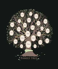 Stylized family tree or pedigree chart template with branches and round photo frames isolated on black background. Ancestry visualization, dynasty ancestors and descendants. Vector illustration.