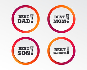 Best mom and dad, son and daughter icons. Awards with exclamation mark symbols. Infographic design buttons. Circle templates. Vector