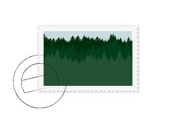 Briefmarke mit Wald Motiv und Stempel