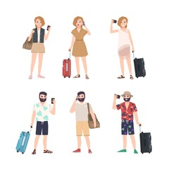 Set of male and female travelers with smartphones standing in various poses. Bundle of man and woman tourists talking on phone, taking selfie, reading messages. Flat cartoon vector illustration.