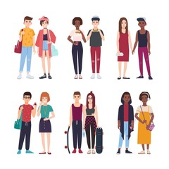 Collection of young teenage couples dressed in trendy clothes. Set of pairs of stylish teen boys and girls. Modern cartoon characters isolated on white background. Colorful vector illustration.