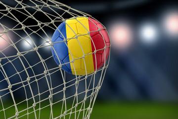 Romanian soccerball in net