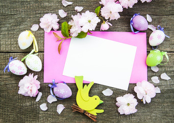 Easter eggs and greeting card
