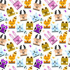 Pattern with forest animals.
