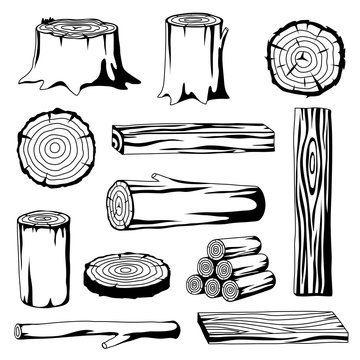 Set of wood logs for forestry and lumber industry. Illustration of trunks, stump and planks