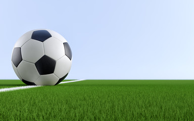 Soccer ball on the white line of a soccer field. Copy space on the right side - 3D Rendering