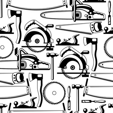 Seamless pattern with equipment and tools for forestry and lumber industry