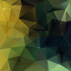 Background made of green, brown, black triangles. Square composition with geometric shapes. Eps 10