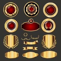 Vektorvorlagenset mit Wappen und Siegeln