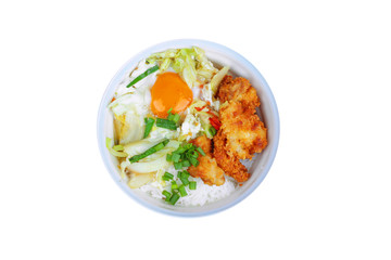 Jasmine rice with deep fried Chicken topped  soft boil eggs and fried pork with mixed vegetablein Japanese style.