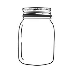 Hand drawn mason jar. Contour sketch. Vector