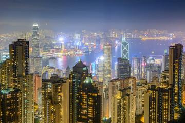 Hong Kong skyscrapers at night. View from Victoria peak in Hong Kong
