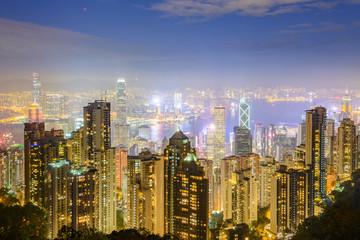 The main land mark of Hong Kong - night Hong Kong city