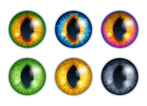 Fantasy eyes set - assorted colors. Iris pupils design.