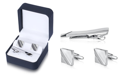 Modish stainless steel cuff link accessories set for men with elegant gift box. Jewelry for men has taken a whole new meaning for the men today special occasion to look trendy and stylish.