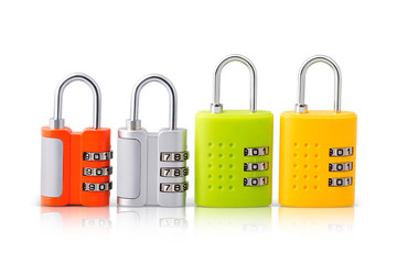 Set of four pattern locks with brilliant colors options yellow, silver, red and green. You never have to worry about carrying around or losing your locking key again because you have pattern option to