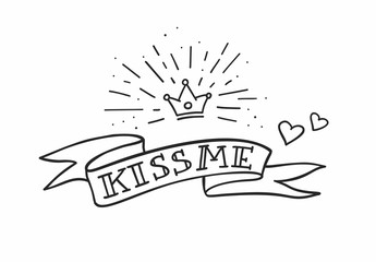 Traditional tattoo design with ribbon, hearts and crown. Kiss me fancy quote. Vector illustration.