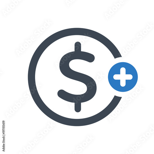 Finance Icon With Add Sign Finance Icon And New Plus Positive