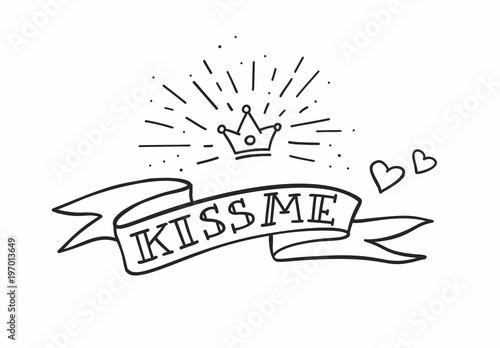 Traditional Tattoo Design With Ribbon Hearts And Crown Kiss Me Fancy Quote Vector