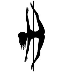 silhouette of girl and pole on a white background. Pole dance illustration for striptease dancers, exotic. Clipart felix fold for logotype, badge, icon, logo, banner, tag, clothes