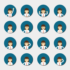 Cartoon girl in various poses and facial expressions. People emotional round icons isolated on white background, vector illustration. Collection of female avatars faces. Different emotions icon set.