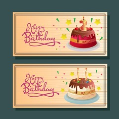 birthday horizontal banner with various tart